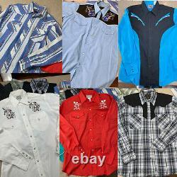 VTG Western Shirts LOT 10 pc Pearl Snap, Wrangler, H Bar C, ELY, High Noon