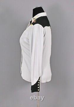 VTG Women's 50s H Bar C Embroidered Rayon Western Shirt Sz L 1950s Gabardine