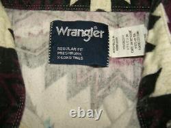 VTG Wrangler Western Native American Flannel Genuine 100% Cotton Shirt