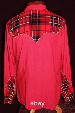 Very Rare Vintage Late 1940's Red & Plaid Gabardine Western Shirt Size Lg