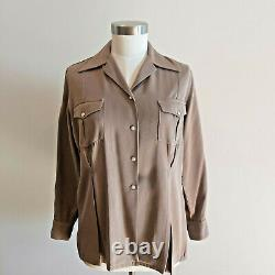 Vintage 1940s Summit Westmount Fitted Wool Gabardine Western Shirt L 45 Bust