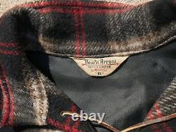 Vintage 1950's Wool Flannel Shirt Size L/XL Plaid Leather Drawstring Collared