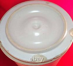 Vintage 3 Gallon Western Stoneware Crock with Lid Painted Corn Monmouth Ill