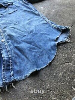 Vintage 40s 50s Levi's Short Horn Denim Western Shirt Cut Sleeves
