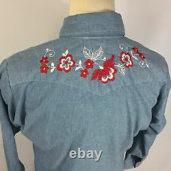 Vintage 40s 50s Monzini Embroidered Chambray Western Work Shirt