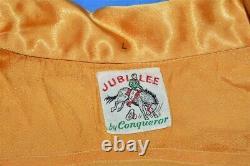 Vintage 40s JUBILEE BY CONQUEROR WESTERN SATIN HORSESHOE COWBOY SHIRT MEDIUM M