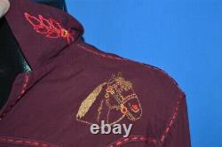 Vintage 40s RODEO HORSE EMBROIDERED RAYON WESTERN COWBOY BUTTON DOWN SHIRT LRG L