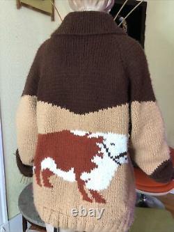 Vintage 50s/60s Cowichan Knit sweater Cows Western Farm Zip Up Rockabilly Large