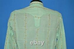 Vintage 50s ROCKMOUNT RANCH WEAR GREEN FLORAL WESTERN PEARL SNAP COWBOY SHIRT L