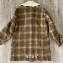 Vintage 60s Pendleton Shadow Plaid Brown Wool Blanket Coat USA Mod Atomic L/XL