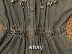 Vintage 70s FRINGE STUDDED DRESS Denim Jean Cowgirl Western Snap Front Sz L GC