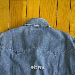 Vintage 70s LEVI'S 60649 Orange Tab Long Sleeve Pearl Snap Western Denim Shirt M
