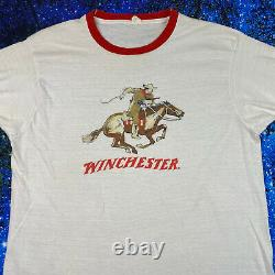 Vintage 70s Winchester Rifle logo ringer T-Shirt Gun NRA sz Large Single Stitch