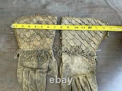 Vintage Antique Cowboy Leather Gloves Gauntlets Large Western Texas Rancher Old