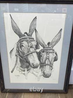 Vintage Bonnie Shields Tennessee Mule Large Print Signed & Inscribed 1973