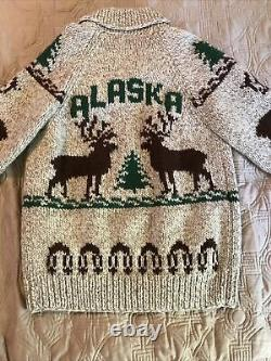 Vintage Cowichan Sweater Lined Jacket Hand Knit Alaska USA Made Elk and Pines
