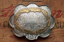 Vintage Diablo Large Sterling Silver Oak Acorns Western Belt Buckle
