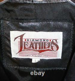 Vintage Diamond Leathers Wool Trench Coat Womens L Fringe Western Black USA Made