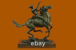 Vintage F, Remington Cowboy, Bronze western Cast Bronze Marble Large Decor