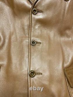 Vintage Genuine Deerskin Western Leather Jacket Custom Coat Co. Mens L/XL Brown