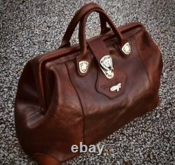 Vintage Gil Holsters Limited Edition HEAVY Caramel Leather Widemouth Duffel Bag