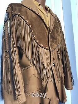 Vintage Hand Made Western Hippie Biker Rock Star Leather Jacket Fringe large