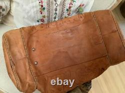 Vintage Hand Tooled Leather Duffle Bag, Collectors Tote Luggage