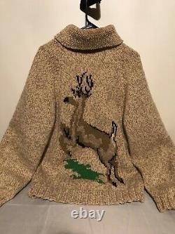 Vintage Heavy Knit Western Outerwear Deer Sweater Cardigan Zip Up Large