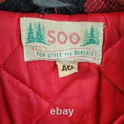 Vintage Heavy Wool Mackinaw Soo Woolen Mills 46 Large Buffalo Plaid Jacket Coat