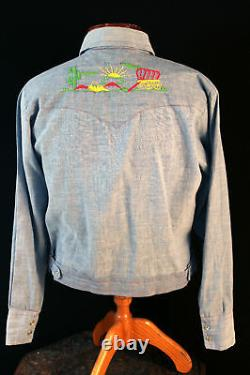 Vintage Hippie 1970's Cotton Blend Chambray Embroidered Shirt Jacket Size Large