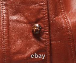 Vintage JC Penney Western Apparel 60s 70s Leather Car Coat Brown Size Large