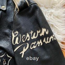 Vintage JOHNNY HALLYDAY Western Passion Black Leather Biker Skulls Jacket RARE