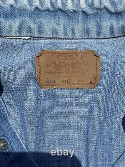 Vintage Large 70s LEVI'S 60649 Orange Tab Pearl Snap Western Denim Work Shirt