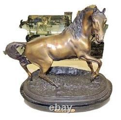 Vintage Large Stallion Bronze Statue Sculpture Marble Base By P. J. Mene Signed