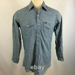 Vintage Lee Chambray Denim Jean Western Pearl Snap Work Farm Shirt Mod Hippy USA
