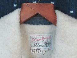 Vintage Lee Storm Rider Denim Ranch Jacket Barn Coat Western Sherpa Lined M/L