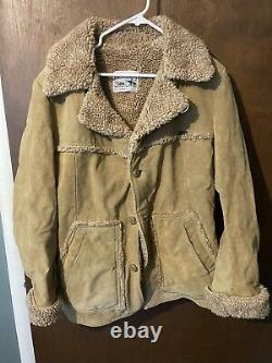 Vintage Lee Storm Rider Western Jacket 42 L Sherpa Lined Coat Made USA Marlboro