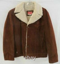 Vintage Levi's Western Suede Leather Sherpa Jacket Men's Large 70s 80s 90s