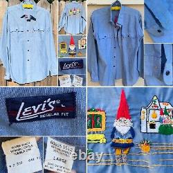 Vintage Levis Chambray Shirt Embroidered Gnome Gnomes Western Work Orange Tab L