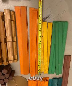Vintage Lincoln Logs Large Lot of 637 Wooden Building Toys Roofs Doors Castle