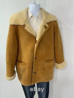 Vintage Marlboro Man Sherpa Coat Shearling Heavy Rancher Bighorn Sheepskin L/XL