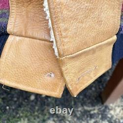 Vintage Mens Aztec Wool Leather Sherpa Lined Western Jacket L Mid West Garment