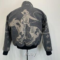 Vintage Mens Large Jacket Coat Gray Rockabilly Cowboy Rare Western Ranch Brands