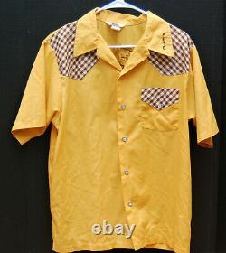 Vintage Nat Nast Chuckwagon Petaluma Ca Western Bowling Shirt Gingham Rockabilly