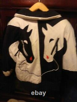 Vintage Neiman Marcus South Western Horse Puffer Jacket 80s Women Lrg B/Wht Red