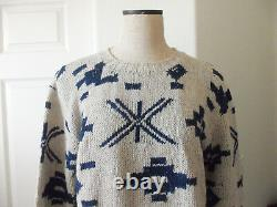 Vintage POLO Ralph Lauren Oatmeal Blue Cotton Western Beacon Blanket Sweater L