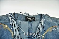Vintage Patricia Wolf Blue Suede Jacket hand-Painted Horses Fringe Large Texas