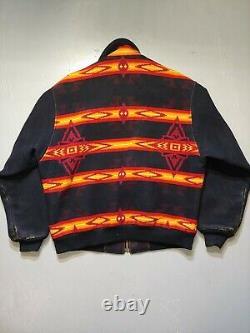 Vintage Pendleton Zip Up Jacket Aztec Print Distressed Wool Size Large Western