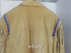 Vintage Pioneer Wear Brown Leather Jacket Fringe Coat Embroidery Mens Large Nice