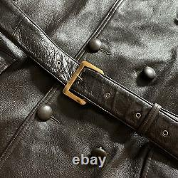 Vintage RARE 1930s/40s Leather Trench Coat Motorcycle Jacket Size L